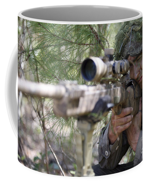 Us Marines Coffee Mug featuring the photograph A Sniper Sights In On A Target by Stocktrek Images