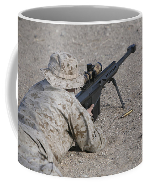 Us Marines Coffee Mug featuring the photograph A U.s. Marine Zeros His M107 Sniper by Stocktrek Images