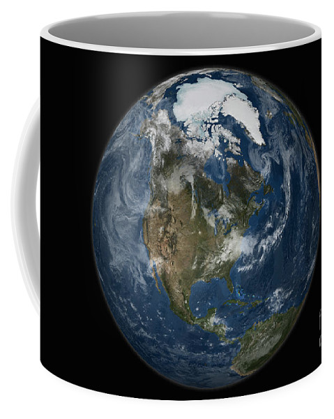 Arctic Coffee Mug featuring the photograph A View Of The Earth With The Full by Stocktrek Images