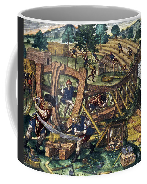 1594 Coffee Mug featuring the photograph America: Shipbuilding, C1594 by Granger
