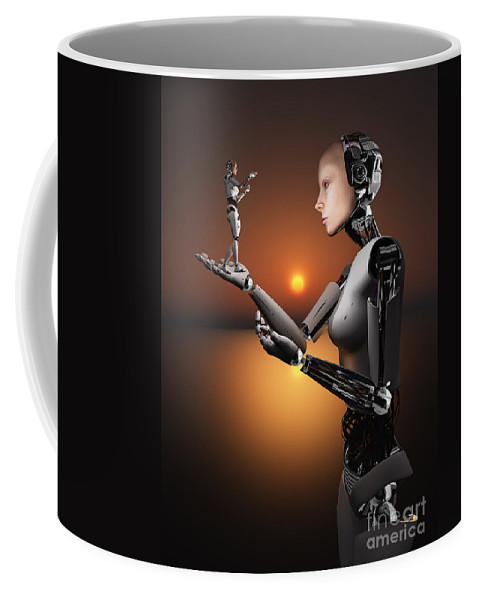 Hands Coffee Mug featuring the digital art An Android Takes A Closer Look by Mark Stevenson