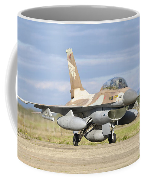 Transportation Coffee Mug featuring the photograph An F-16b Netz Of The Israeli Air Force by Giovanni Colla