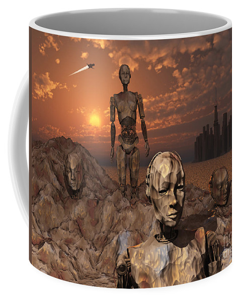 Evolution Coffee Mug featuring the digital art Android Fossils Preserved by Mark Stevenson