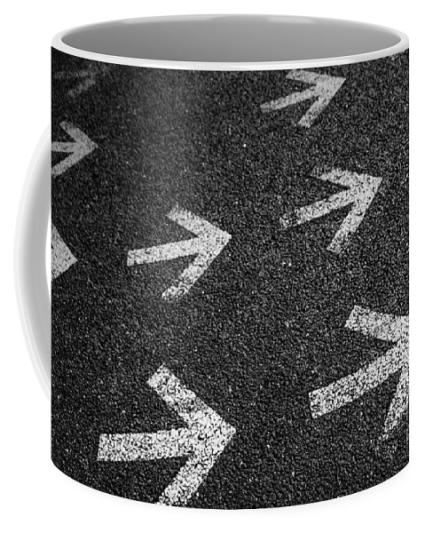 Abstract Coffee Mug featuring the photograph Arrows On Asphalt by Carlos Caetano