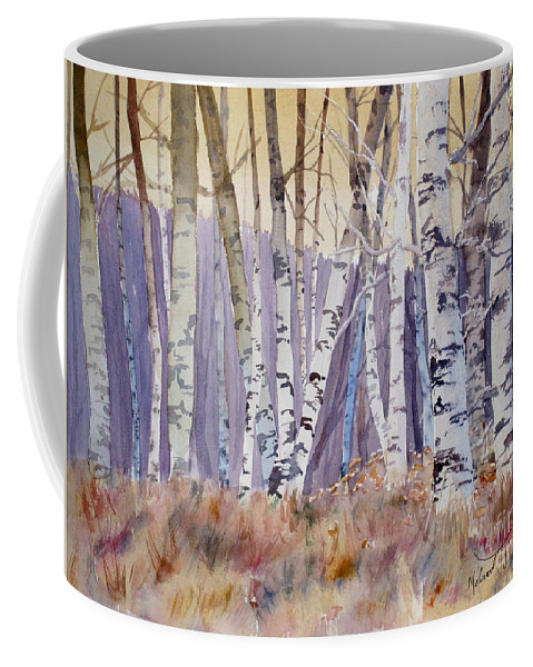 Coffee Mug featuring the painting Aspens by Mohamed Hirji