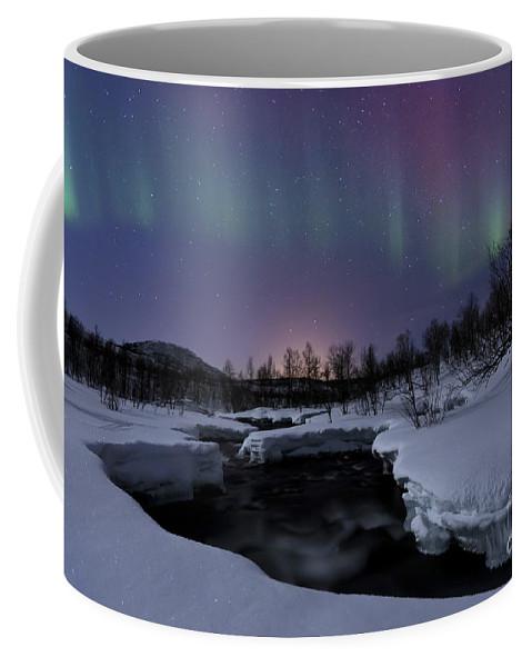 Aurora Borealis Coffee Mug featuring the photograph Aurora Borealis Over Blafjellelva River by Arild Heitmann