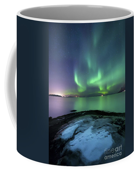 Harstad Coffee Mug featuring the photograph Aurora Borealis Over Vagsfjorden by Arild Heitmann
