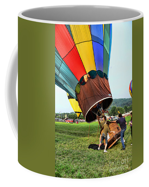 The Balloonist - Inside A Hot Air Balloon Coffee Mug featuring the photograph Balloonist - Ready For Takeoff by Paul Ward
