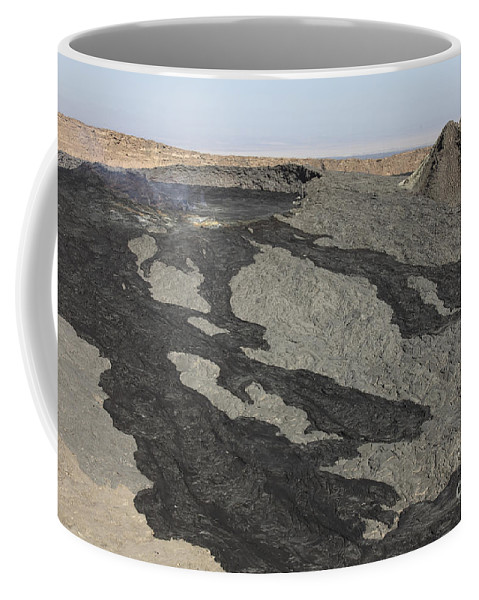 Igneous Rocks Coffee Mug featuring the photograph Basaltic Lava Flow From Pit Crater by Richard Roscoe