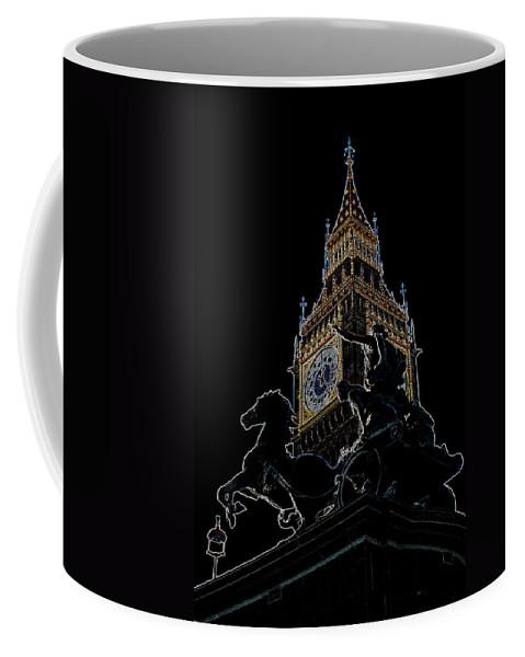 Digital Coffee Mug featuring the digital art Big Ben And Boudica Statue by David Pyatt