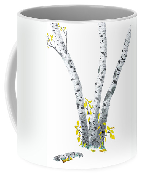 Birches Coffee Mug featuring the drawing Birches by Garry McMichael