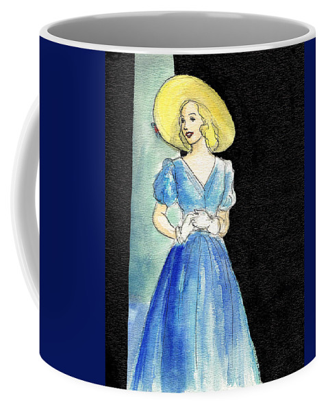 Nostalgia Coffee Mug featuring the drawing Blue Gown by Mel Thompson