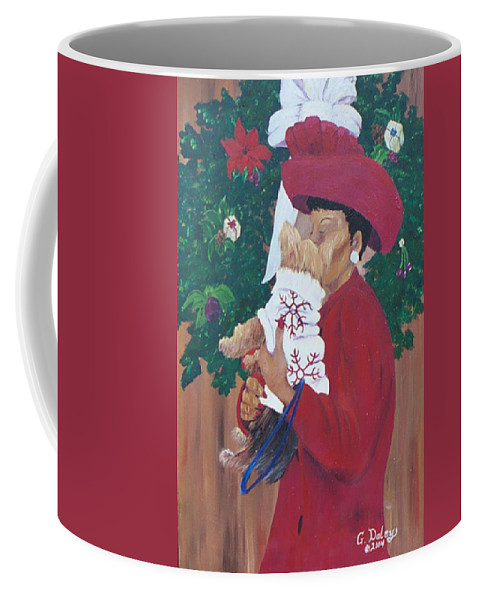 #christmas Prints Coffee Mug featuring the painting Christmas Lioness by Gail Daley