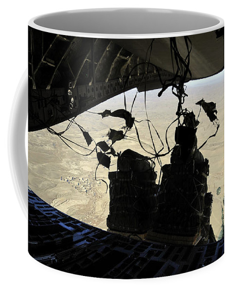 Airdrop Coffee Mug featuring the photograph Container Delivery System Bundles Exit by Stocktrek Images