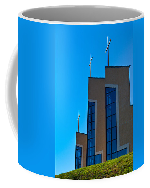 Church Coffee Mug featuring the photograph Crosses Of Livingway Church by Ed Gleichman