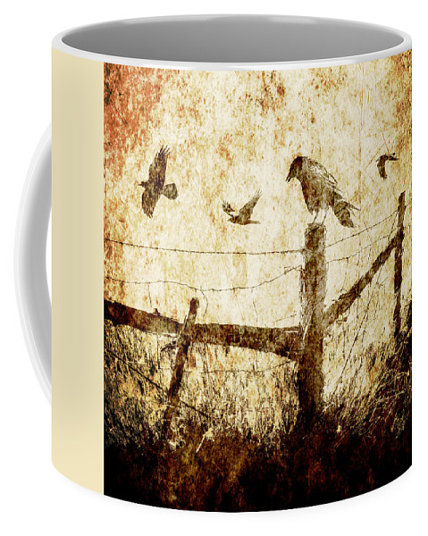 Art Coffee Mug featuring the photograph Crows And The Corner Fence by Randall Nyhof