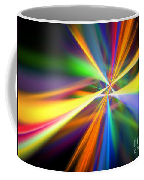 Abstract Coffee Mug featuring the digital art Digital Lightshow by Yali Shi