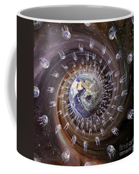 Color Image Coffee Mug featuring the photograph Digitally Enhanced Image Of The Earth by Stocktrek Images