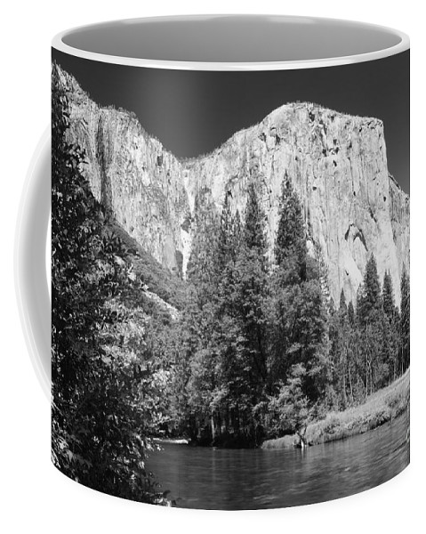 Black&white Coffee Mug featuring the photograph El Capitan And Merced River by Sandra Bronstein