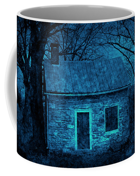 Limestone Coffee Mug featuring the photograph Enchanted Moonlight Cottage by John Stephens