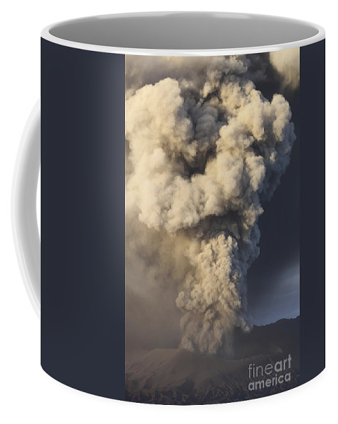 Volcanic Coffee Mug featuring the photograph Eruption Of Ash Cloud From Mount Bromo by Richard Roscoe