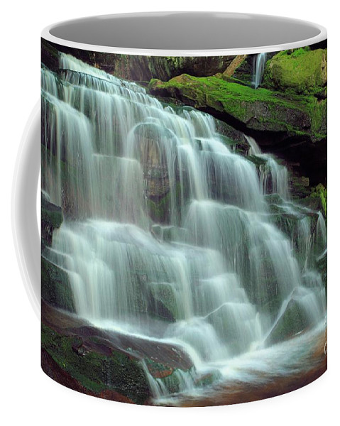 Black Water Falls State Park Coffee Mug featuring the photograph Evening At The Falls by Adam Jewell