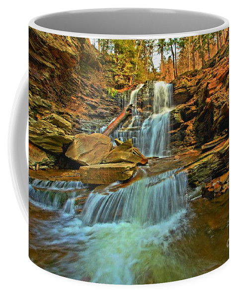 Ricketts Glen Coffee Mug featuring the photograph Flowing Down The Mountain by Adam Jewell