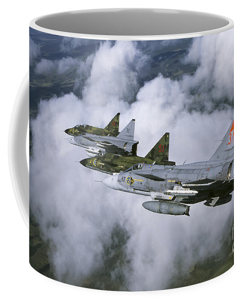 Transportation Coffee Mug featuring the photograph Four Saab 37 Viggen Fighters by Daniel Karlsson