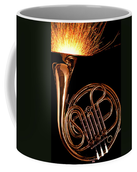 French Coffee Mug featuring the photograph French Horn With Sparks by Garry Gay