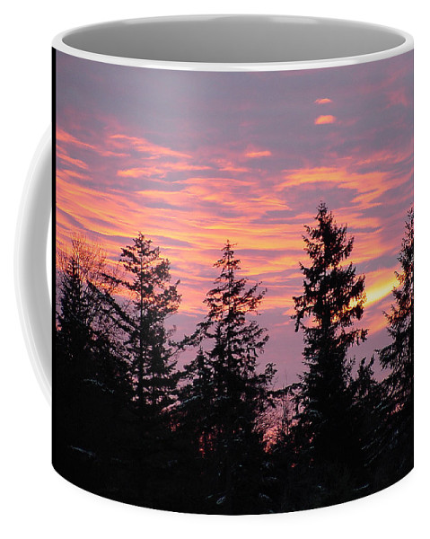 Sunrise Coffee Mug featuring the photograph Frosted Morning Silhouette by Shirley Heyn