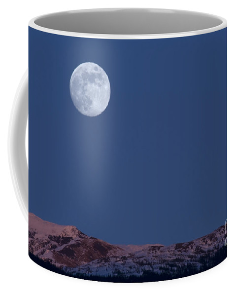 Alpenglow Coffee Mug featuring the photograph Full Moon At Alpenglow by Yuichi Takasaka