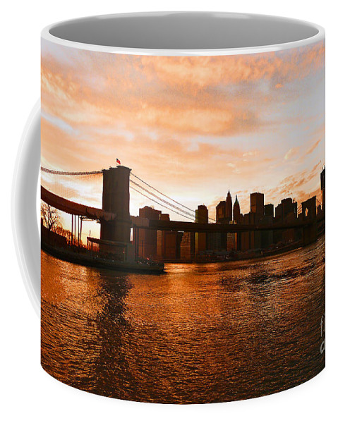 Brooklyn Bridge Coffee Mug featuring the photograph Golden Memories by Kendall Eutemey