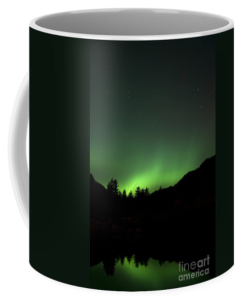 Reflection Coffee Mug featuring the photograph Green Aurora Above Kincolith River by Yuichi Takasaka