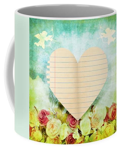 Antique Coffee Mug featuring the photograph greeting card Valentine day by Setsiri Silapasuwanchai