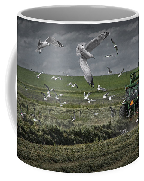 Art Coffee Mug featuring the photograph Gull Chased Tractor by Randall Nyhof