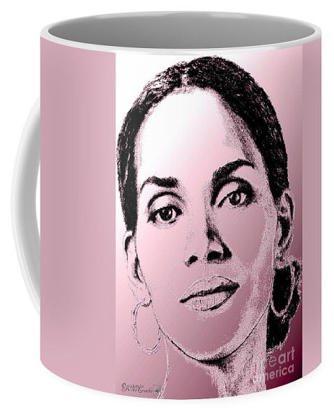 Halle Berry Coffee Mug featuring the digital art Halle Berry In 2008 by J McCombie