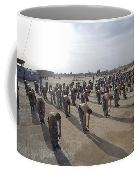 Police Officers Coffee Mug featuring the photograph Iraqi Police Cadets Being Trained by Andrew Chittock