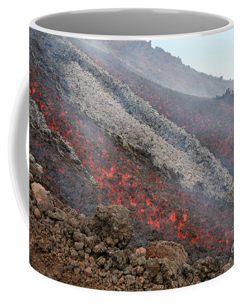 Close-up Coffee Mug featuring the photograph Lava Flow During Eruption Of Mount Etna by Richard Roscoe