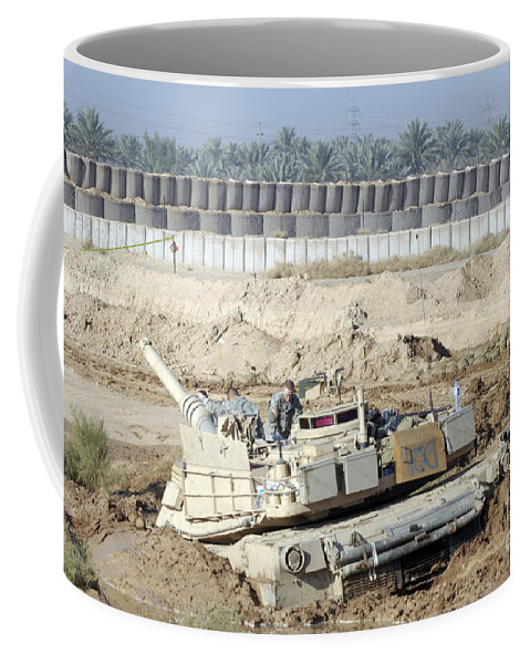 Camp Warhorse Coffee Mug featuring the photograph M1 Abrams Tank Is Bogged When Trying by Terry Moore