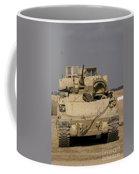Camp Warhorse Coffee Mug featuring the photograph M2m3 Bradley Fighting Vehicle by Terry Moore