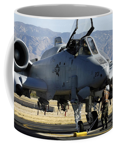 Color Image Coffee Mug featuring the photograph Maintainers Perform Pre-flight by Stocktrek Images