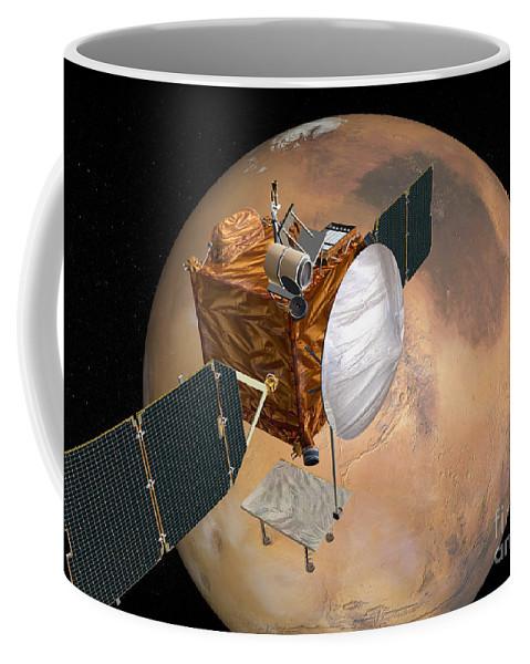 Color Image Coffee Mug featuring the digital art Mars Telecommunications Orbiter by Stocktrek Images