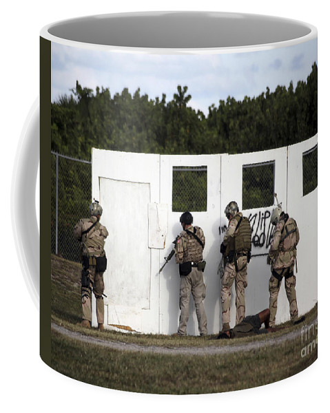 Military Coffee Mug featuring the photograph Military Reserve Members Prepare by Michael Wood
