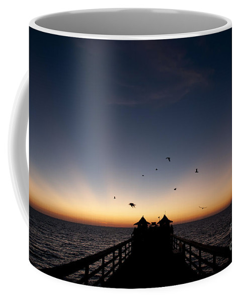 Naples Pier Coffee Mug featuring the photograph Naples Pier Sunset by Art Whitton