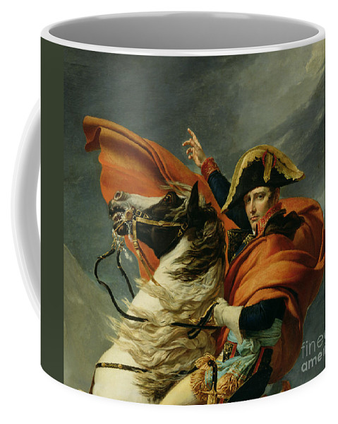 Equestrian; Portrait; Male; Man Coffee Mug featuring the painting Napoleon Crossing The Alps On 20th May 1800 by Jacques Louis David