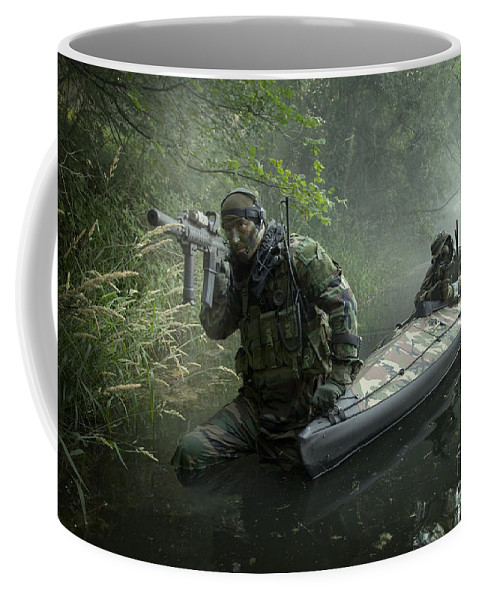 Special Operations Forces Coffee Mug featuring the photograph Navy Seals Navigate The Waters by Tom Weber