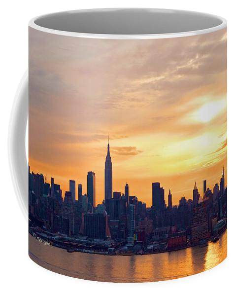 Ny Skyline Coffee Mug featuring the photograph Ny Skyline Sunrise Gold by Regina Geoghan
