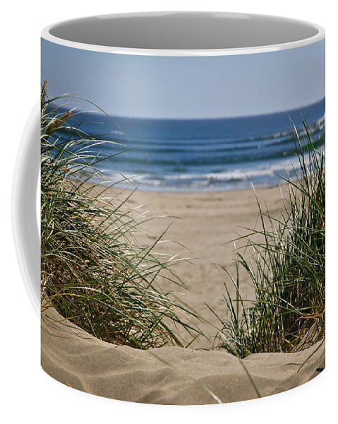 Sand Dunes Coffee Mug featuring the photograph Ocean View With Sand by Athena Mckinzie