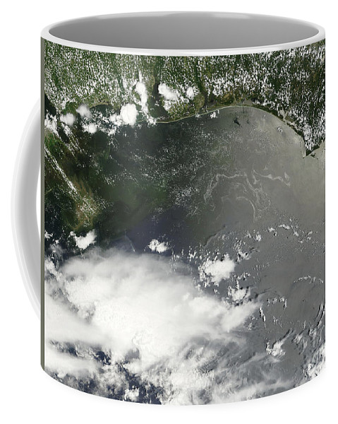 Usa Coffee Mug featuring the photograph Oil Slick In The Gulf Of Mexico by Stocktrek Images