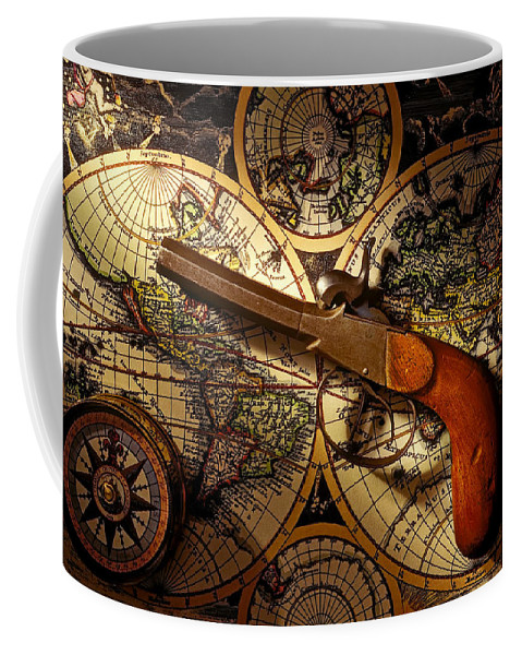 Old Gun Coffee Mug featuring the photograph Old Gun On Old Map by Garry Gay